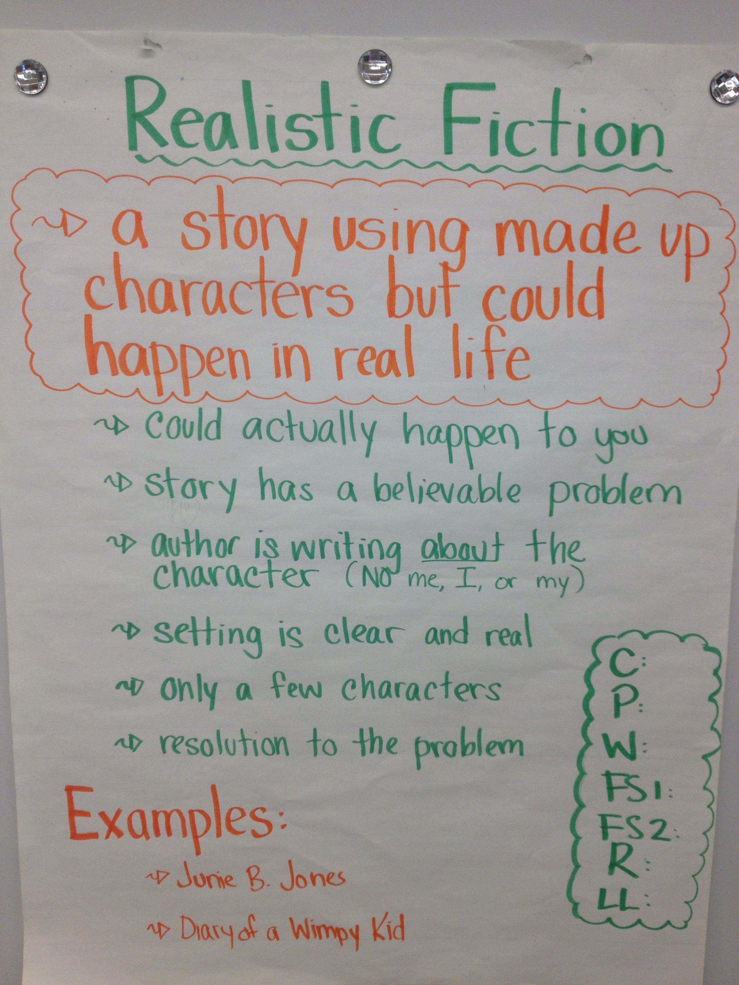 Realistic Fiction | Anchor charts Reading/Writing | Pinterest