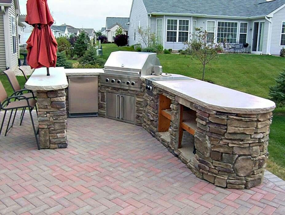 Built in bbq outdoor kitchen pinterest for Outdoor patio cooking area