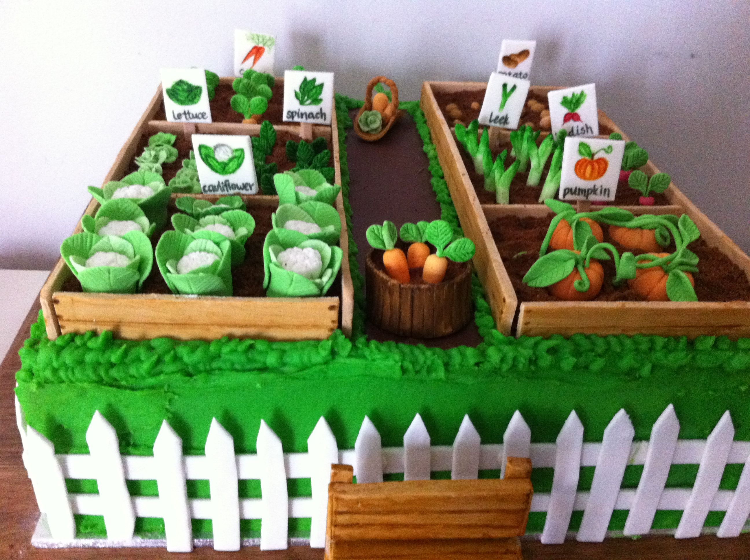 Vegetable garden cake gardening cake ideas pinterest for Vegetable patch ideas