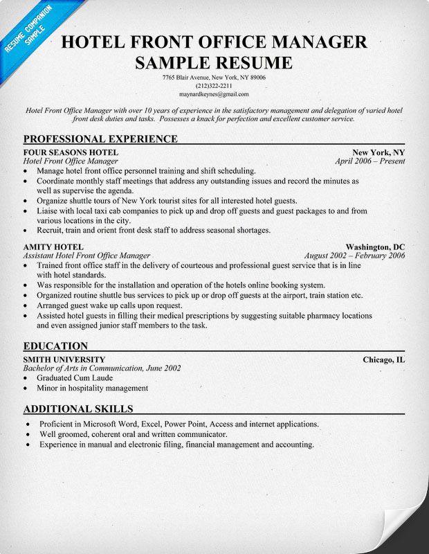 Resume In Hospitality Management