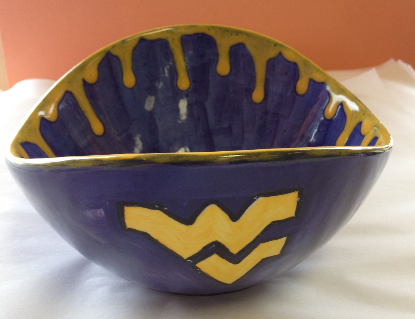 Wvu bowl paint your own pottery ideas pinterest for Bowl painting ideas