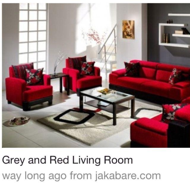 Grey Red Black Living Room Living Room Pinterest
