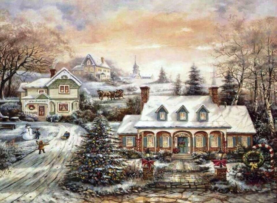 old fashioned christmas town wallpaper - photo #17
