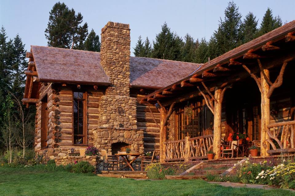 Great Combination Of Logs And Stone Cabins Log Homes