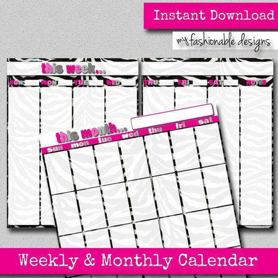 Pink & Zebra Weekly Planner Calendar by MyFashionableDesigns ...