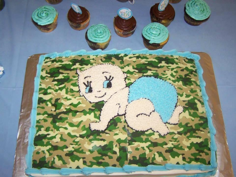 camo baby cake next shower little ones pinterest
