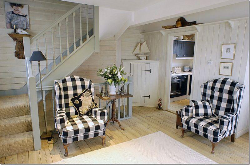Plaid Chairs Cottage Living Room Cottages Pinterest
