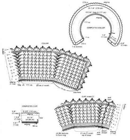Вязание крючком воротничок и манжеты 16