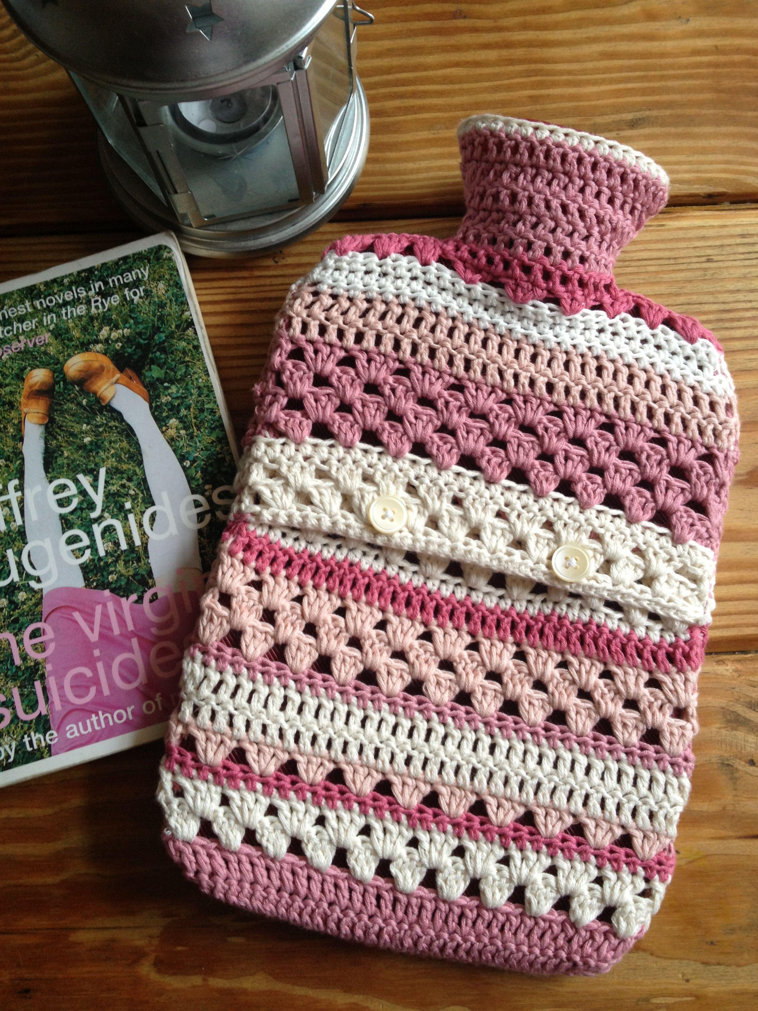 Crocheted hot water bottle cover Crochet Pinterest