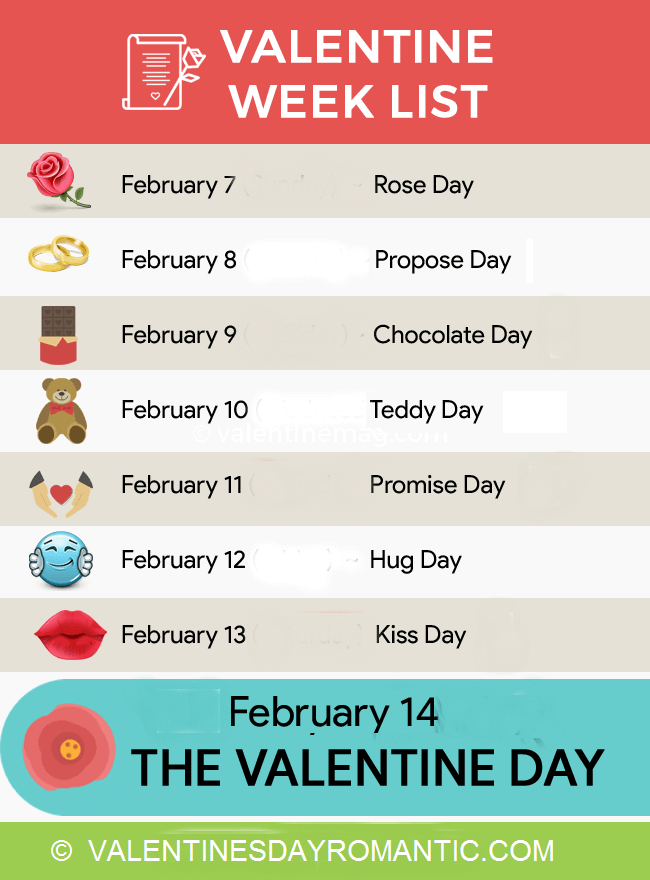 Happy Valentines Day 2017 Week List Schedule Timetable Calendar ...