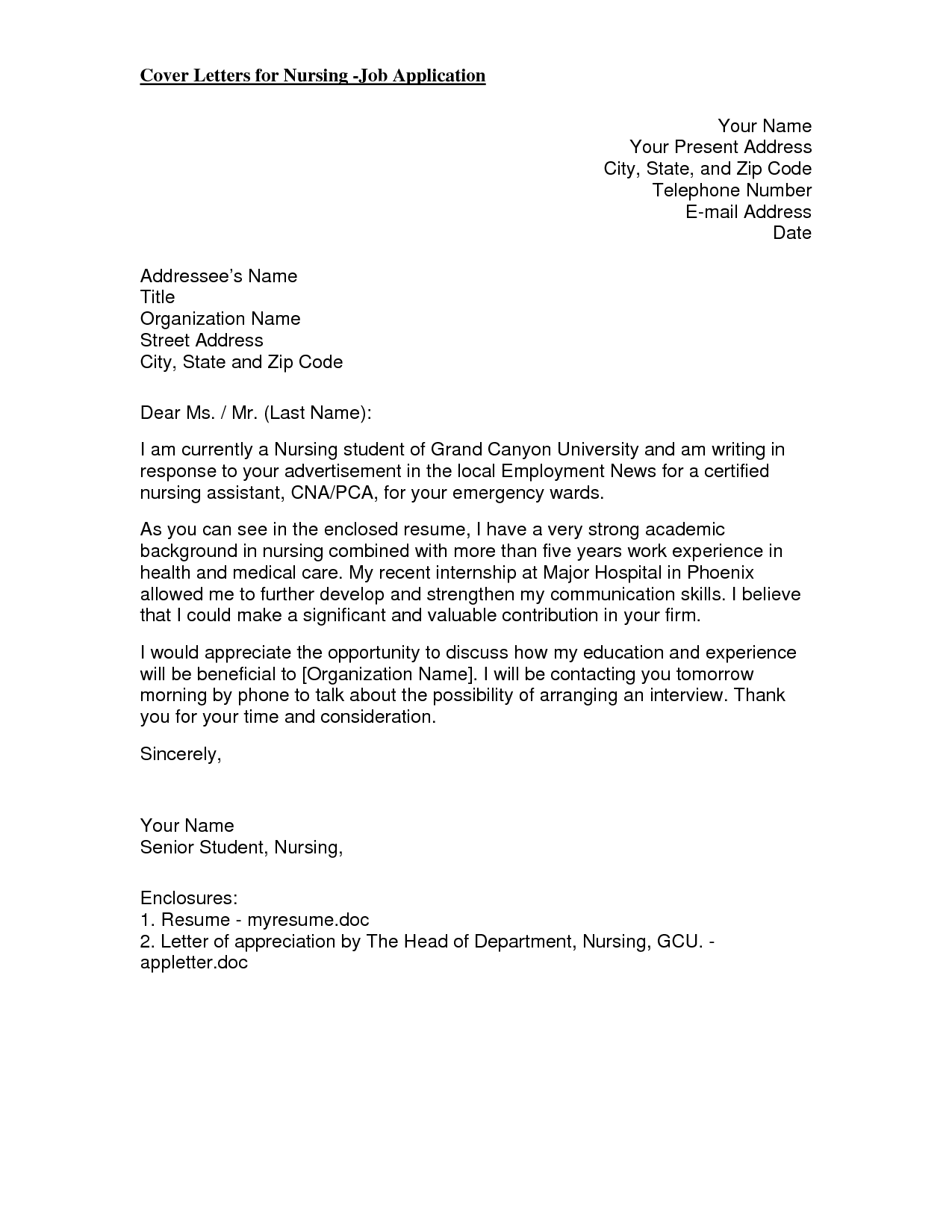 cover letter hospital graduate nurse cover letter example cover ...