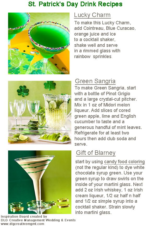 St Patrick 39 S Day Drink Recipes H O L I D A Y S Pinterest