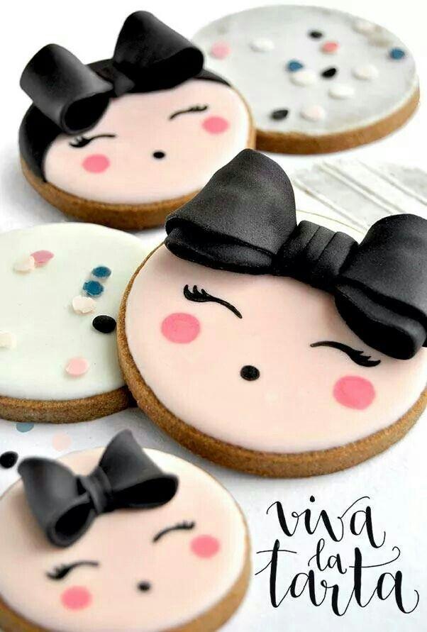 Viva la tarta, girl cookies, bows