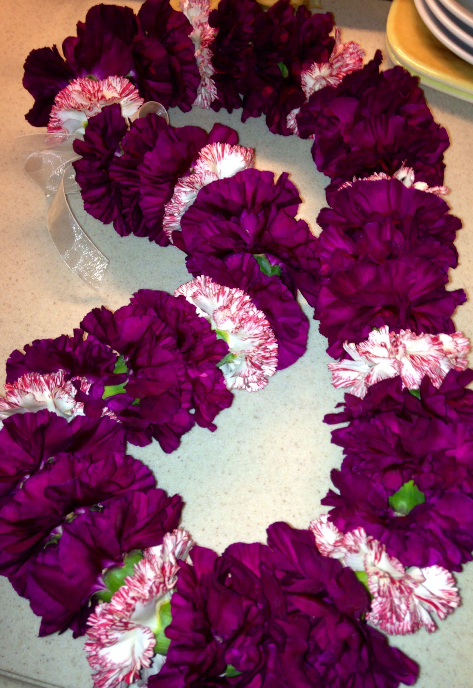 Maroon & Red Striped Carnation Lei Joanne s Flowers