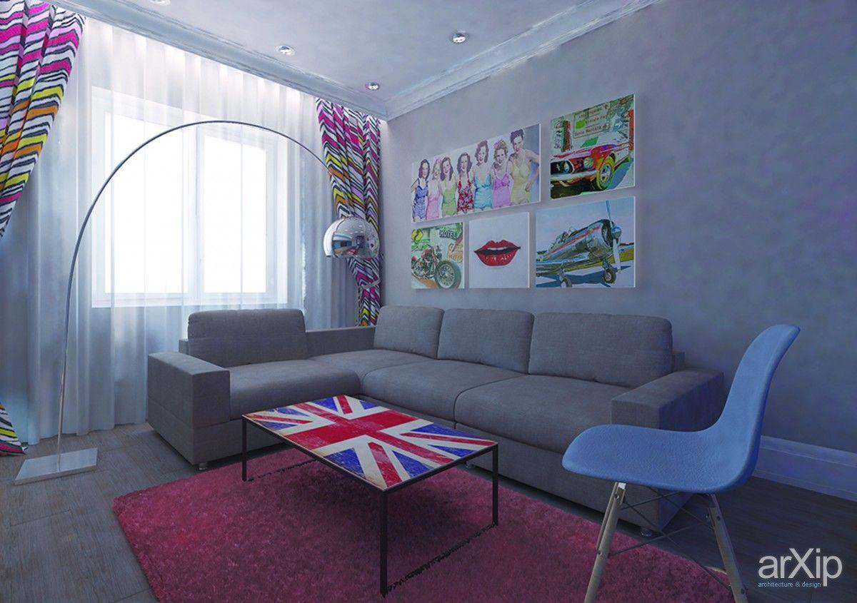 Молодежный интерьер гостиной 158