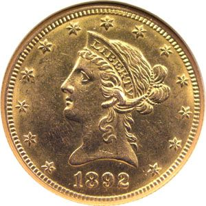 1892 ten dollar gold a 1 jewelry & coin 1827 w. irving pk