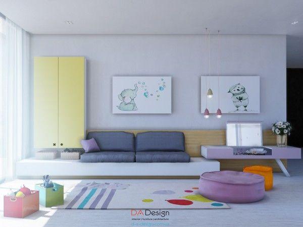 Chiếc ghế sofa này có thể chuyển thành một các giường nhỏ nhắn cho khách, kế bên là bàn trang điểm màu tím hoa cà đáng yêu.