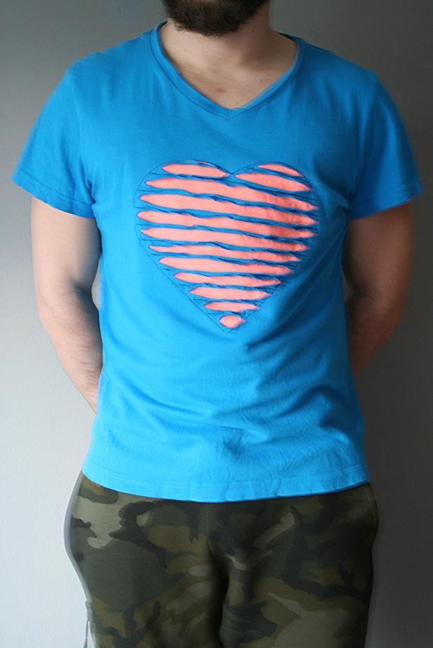 Valentinstag Tshirt mit Herz nähen Chenilletechnik, diy, Tutorial ...