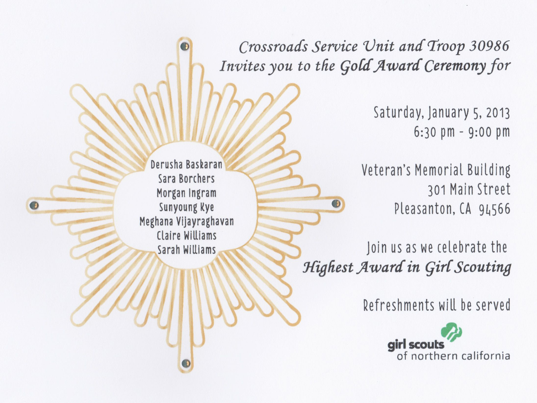 invitation for the girl scout gold award girl scout