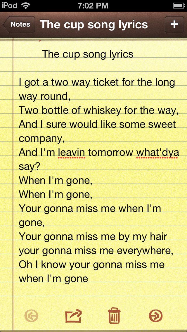 PITCH PERFECT : Cup song lyrics - LyricsReg.com