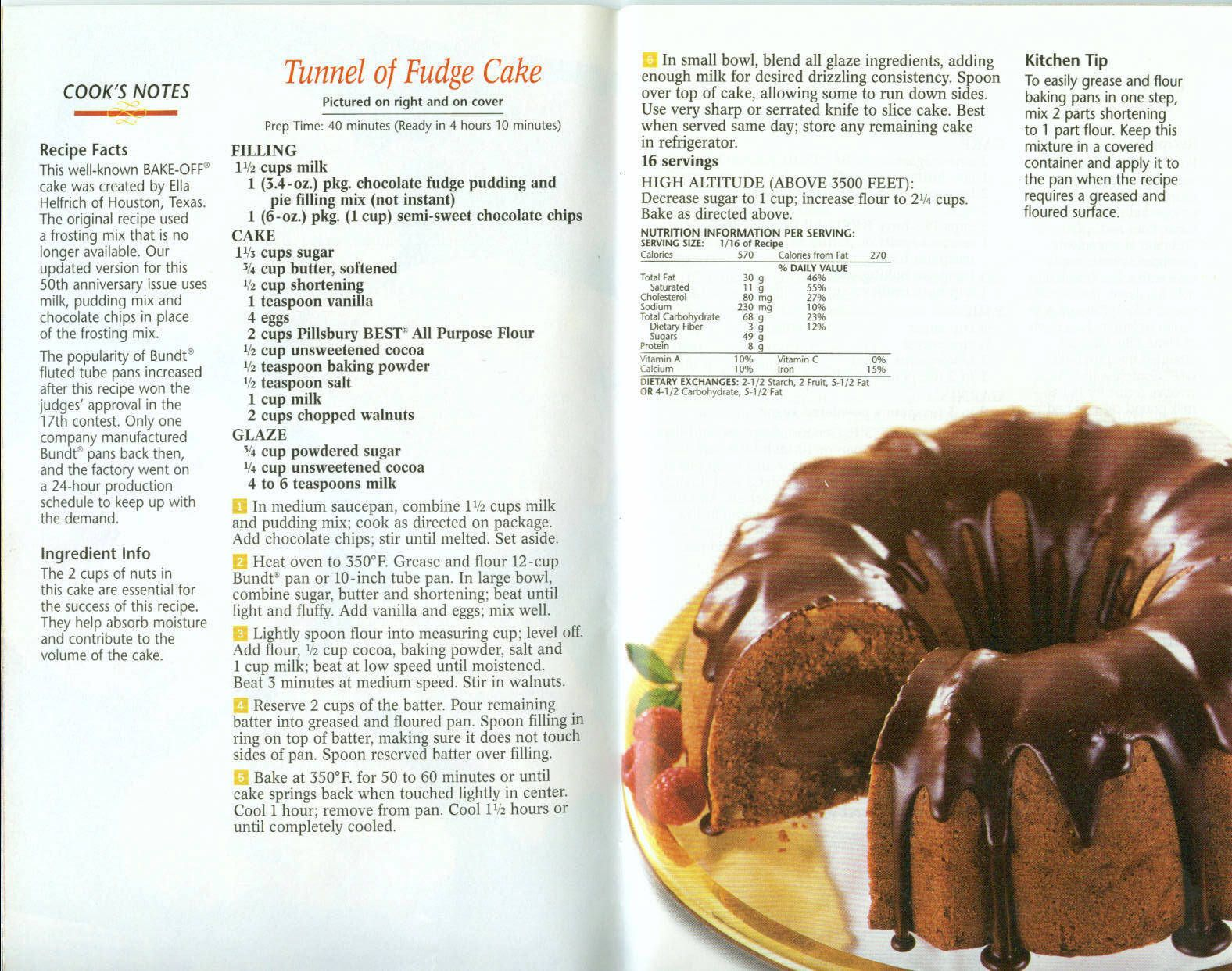 Tunnel Of Fudge Cake | Old Fashioned Recipes | Pinterest