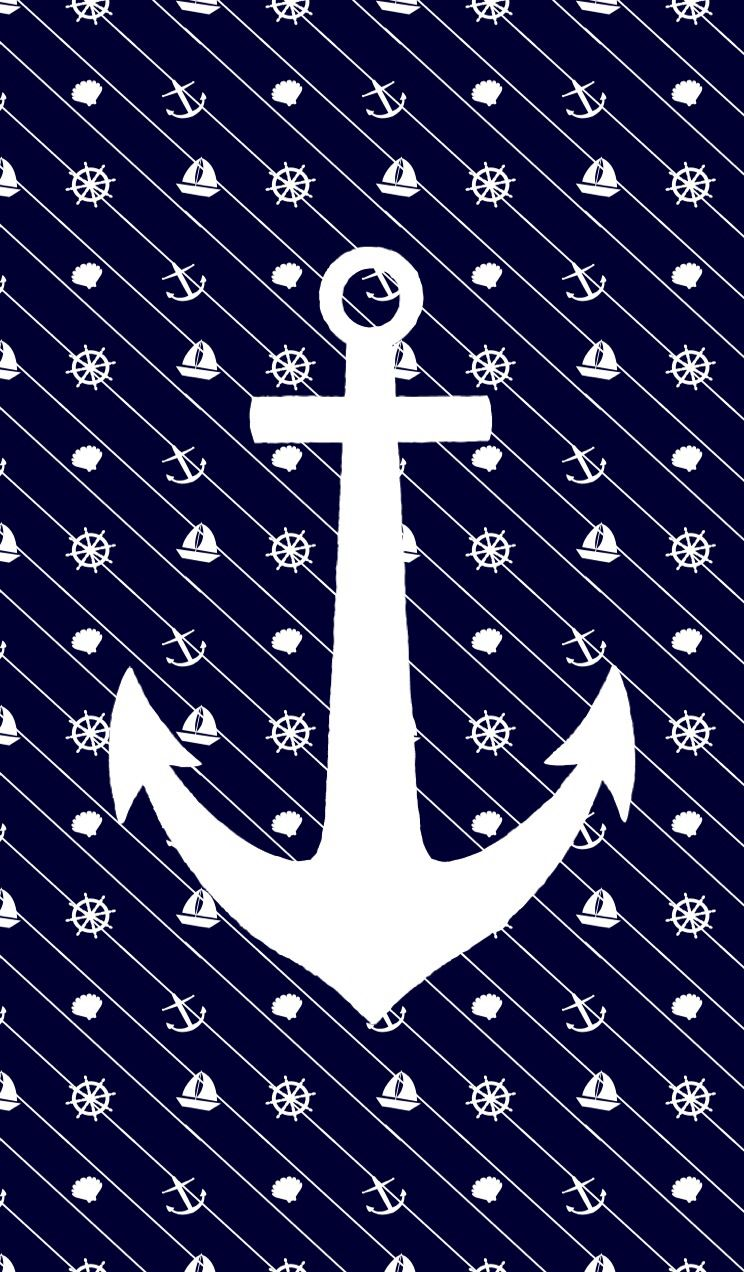 White anchor on navy | Wallpapers | Pinterest