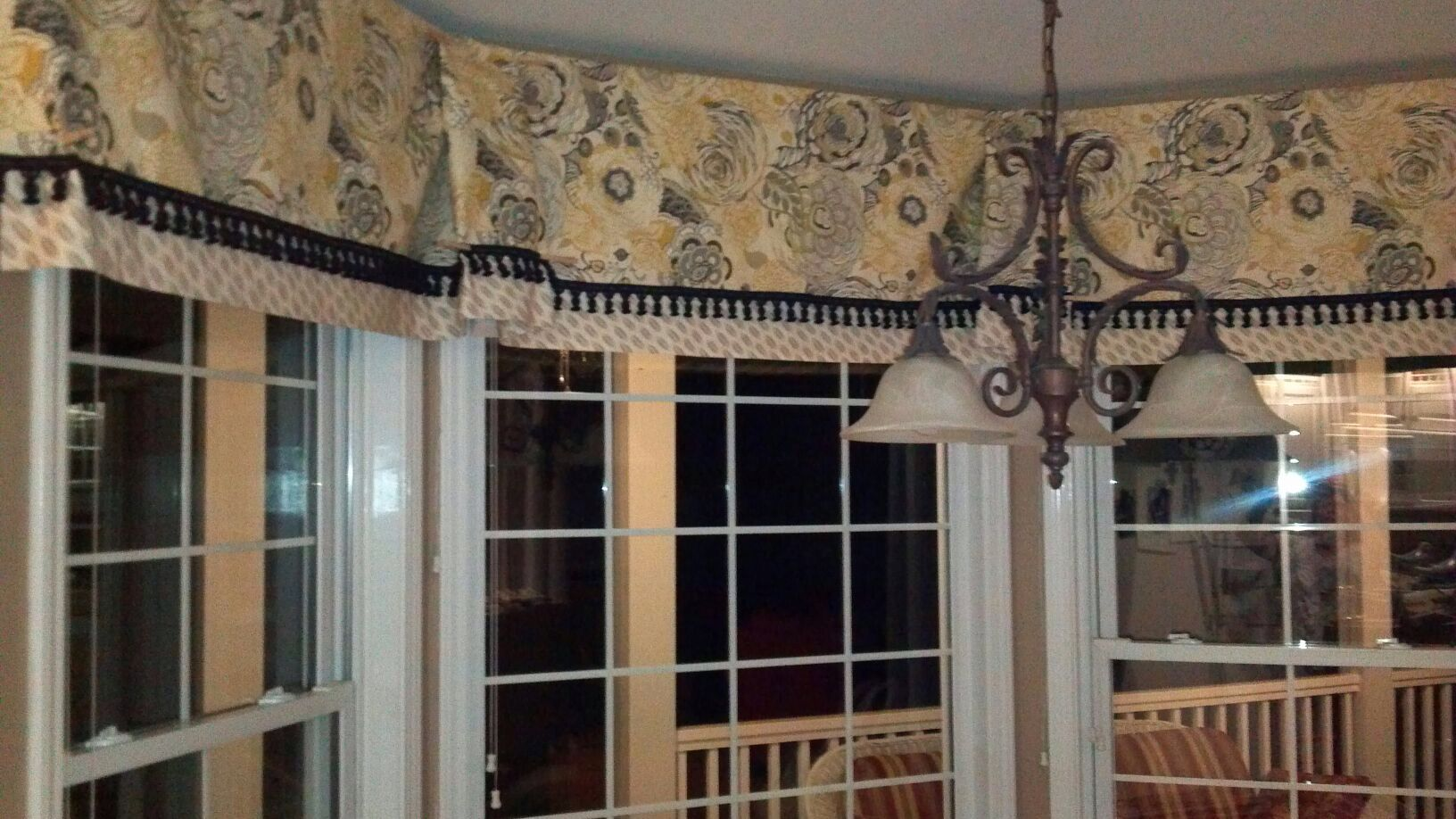 Custom cornice for kitchen bay window curtains for Bay window kitchen curtains ideas