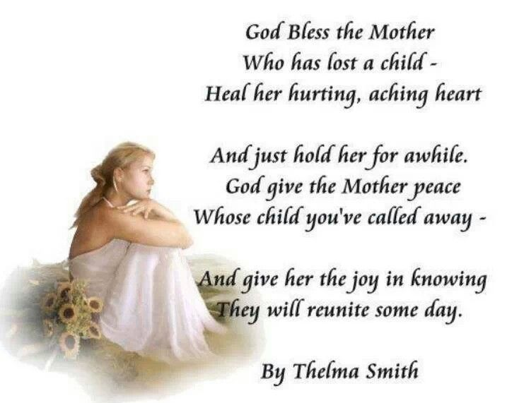 Bereaved mother loss of child sympathy pinterest