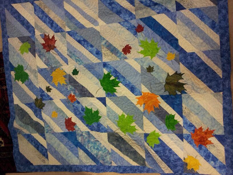Quilt Pattern For Maple Leaf : Blue maple leaf quilt Knit patterns, quilts and other such crafts