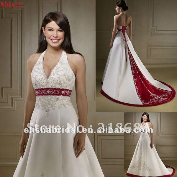 White N Red Wedding Dress Plus Size Wedding Dresses