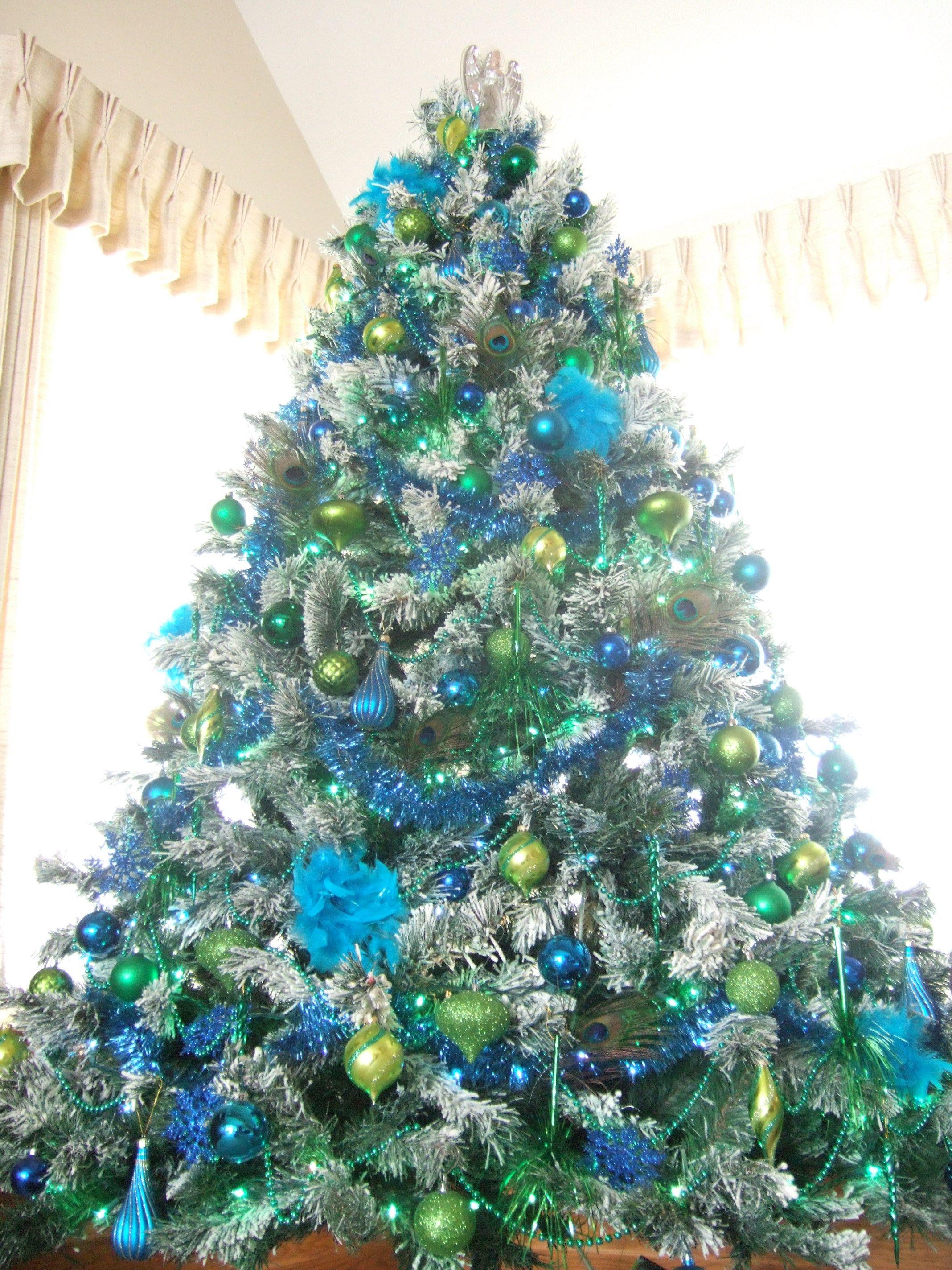 Tree peacock christmas blue green