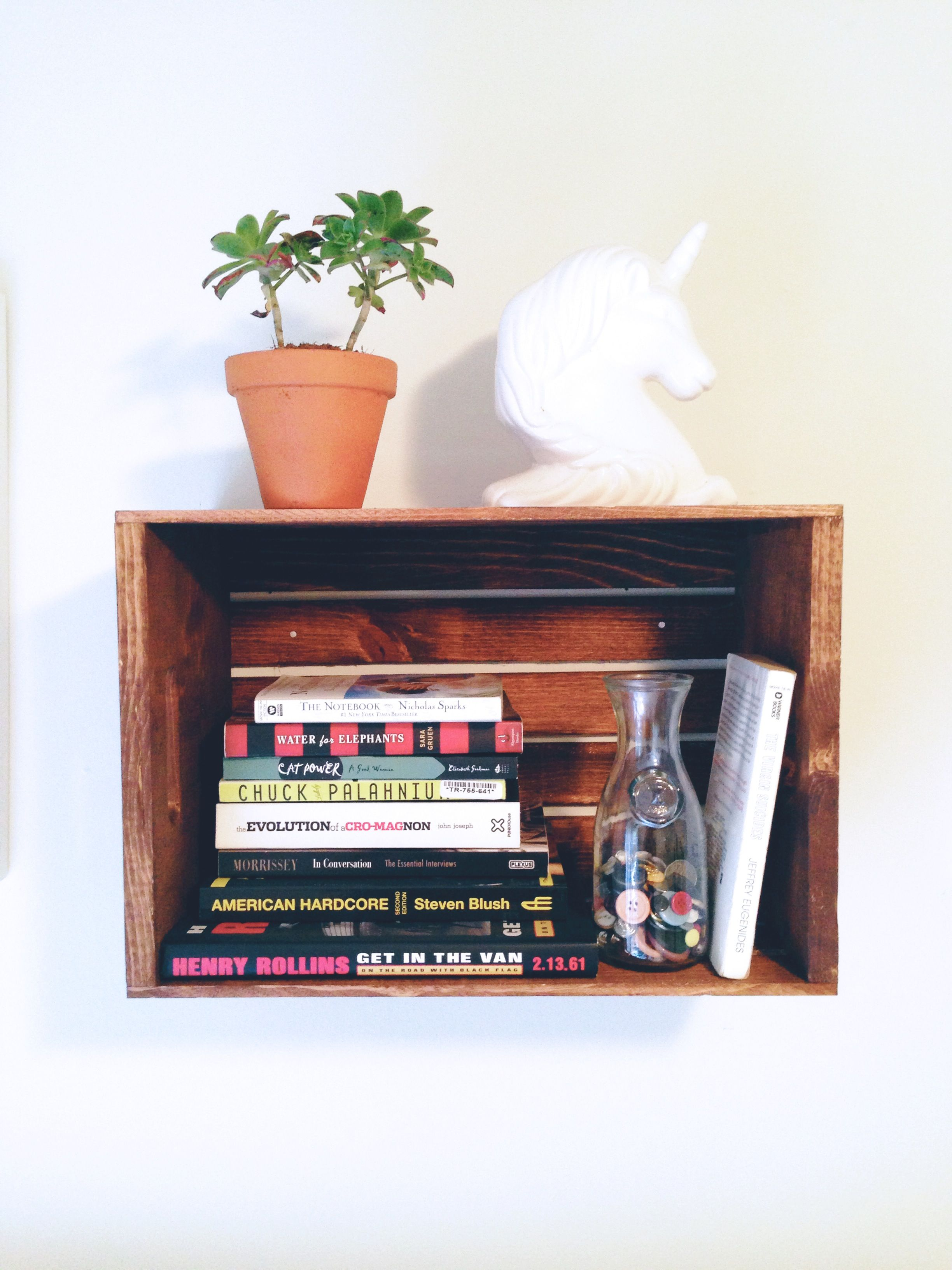 Wood crate shelf  c a s a  Pinterest
