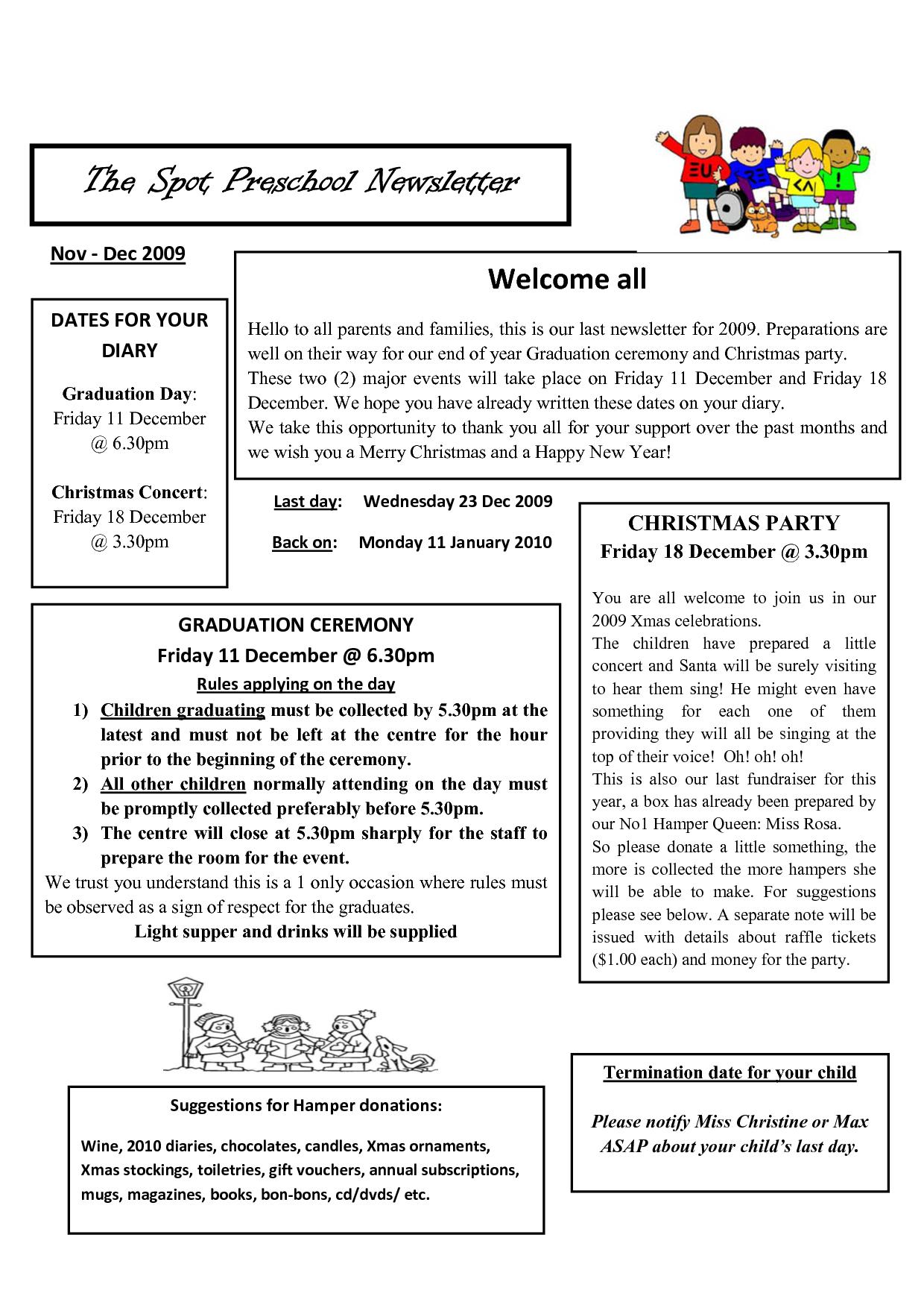 similiar sample preschool newsletters for parents keywords