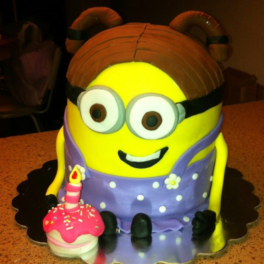 Girl minion cake Minions birthday ideas Pinterest