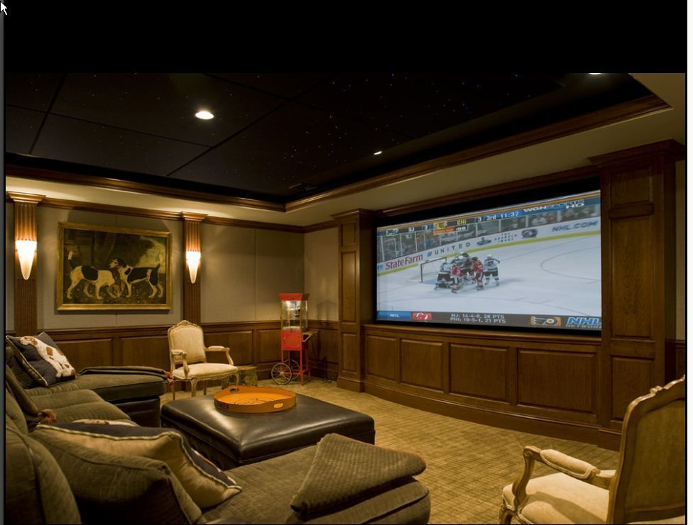 media room with casual seating | Theater Room | Pinterest