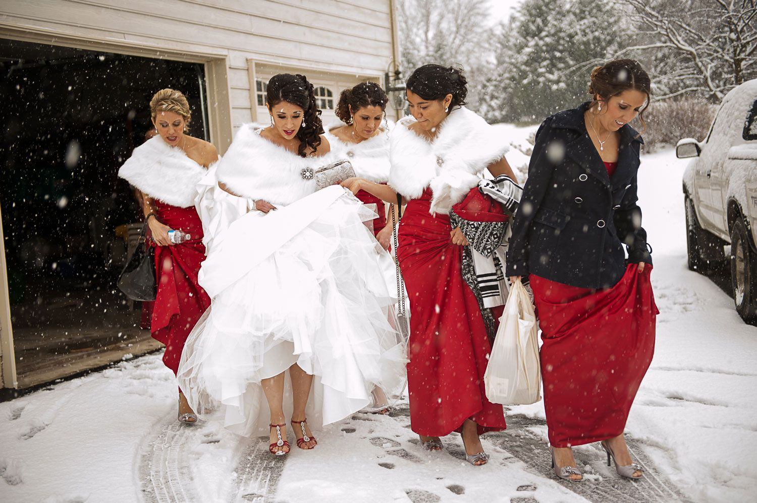 Bridesmaids winter wedding dresses for Red winter wedding dresses