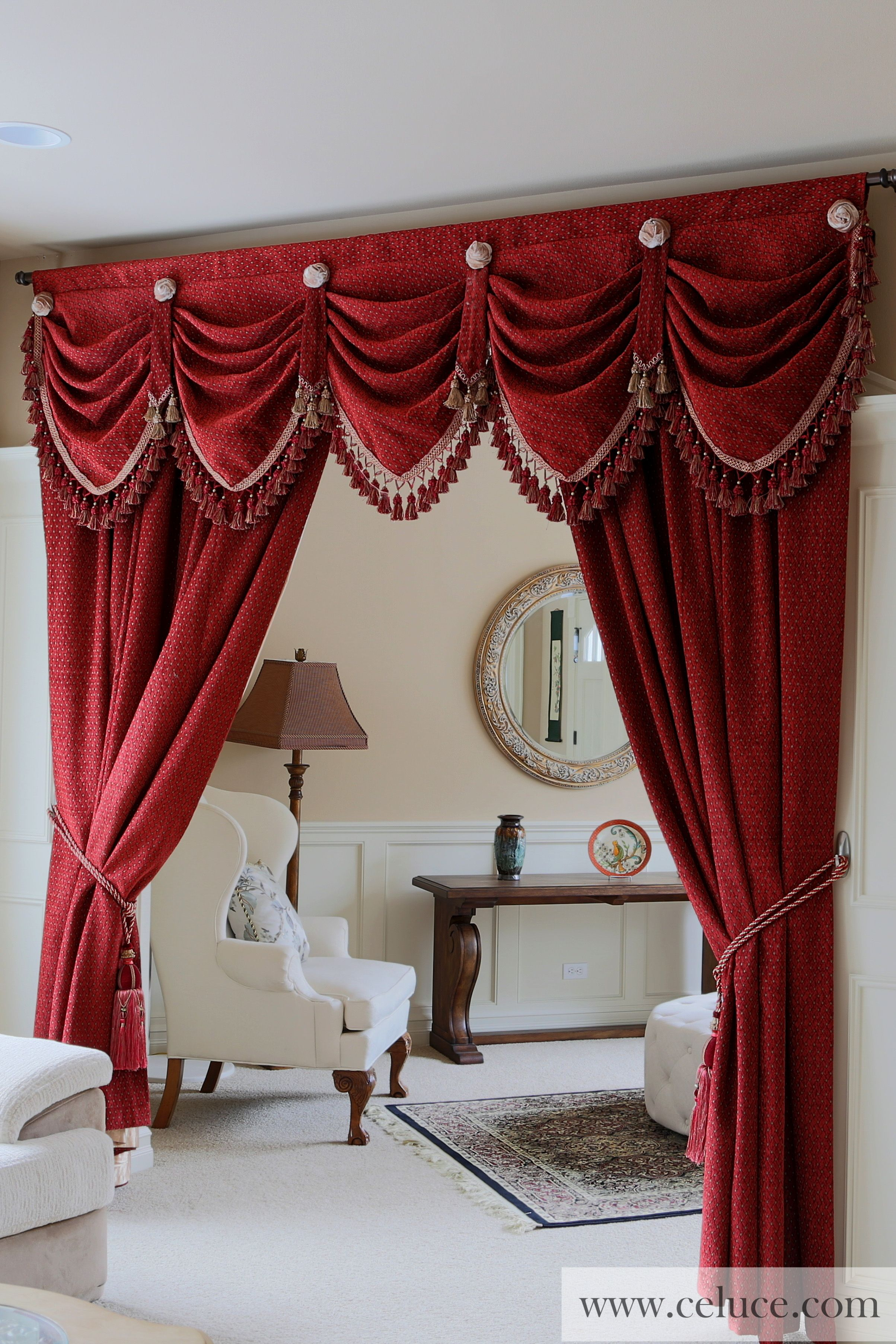 Pin by ce luce curtains on window treatments swag for Celuce curtains