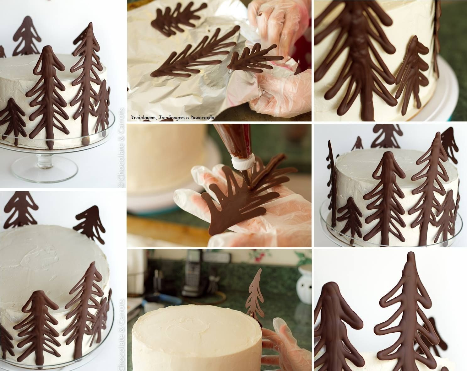 Chocolate Christmas tree decor on cake  Cooking  Pinterest