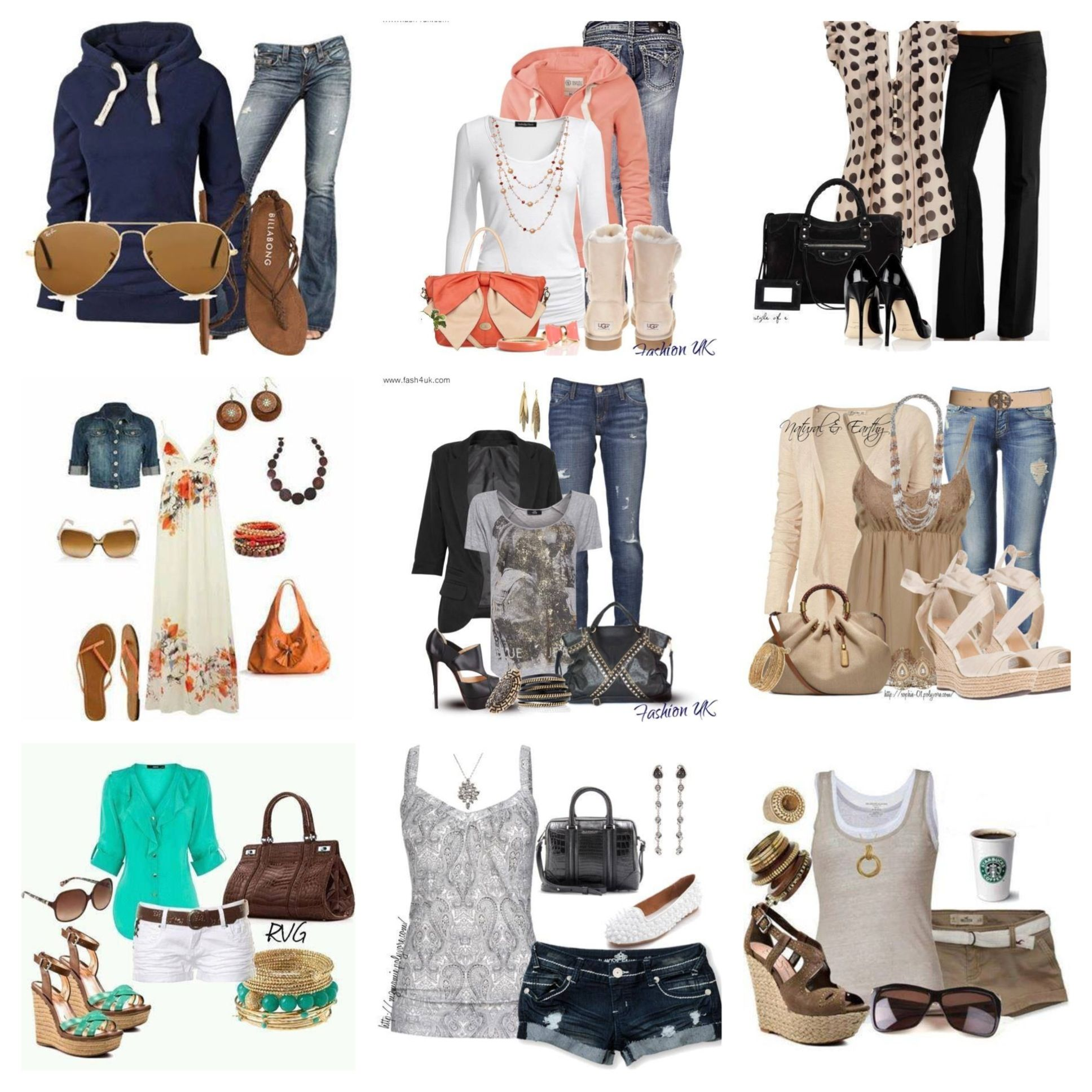Collages of fashion sites like polyvore