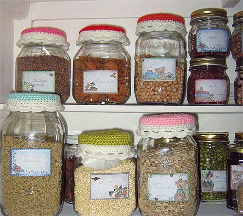 crochet jar lid covers Mason Jar And Bottle Covers Pinterest