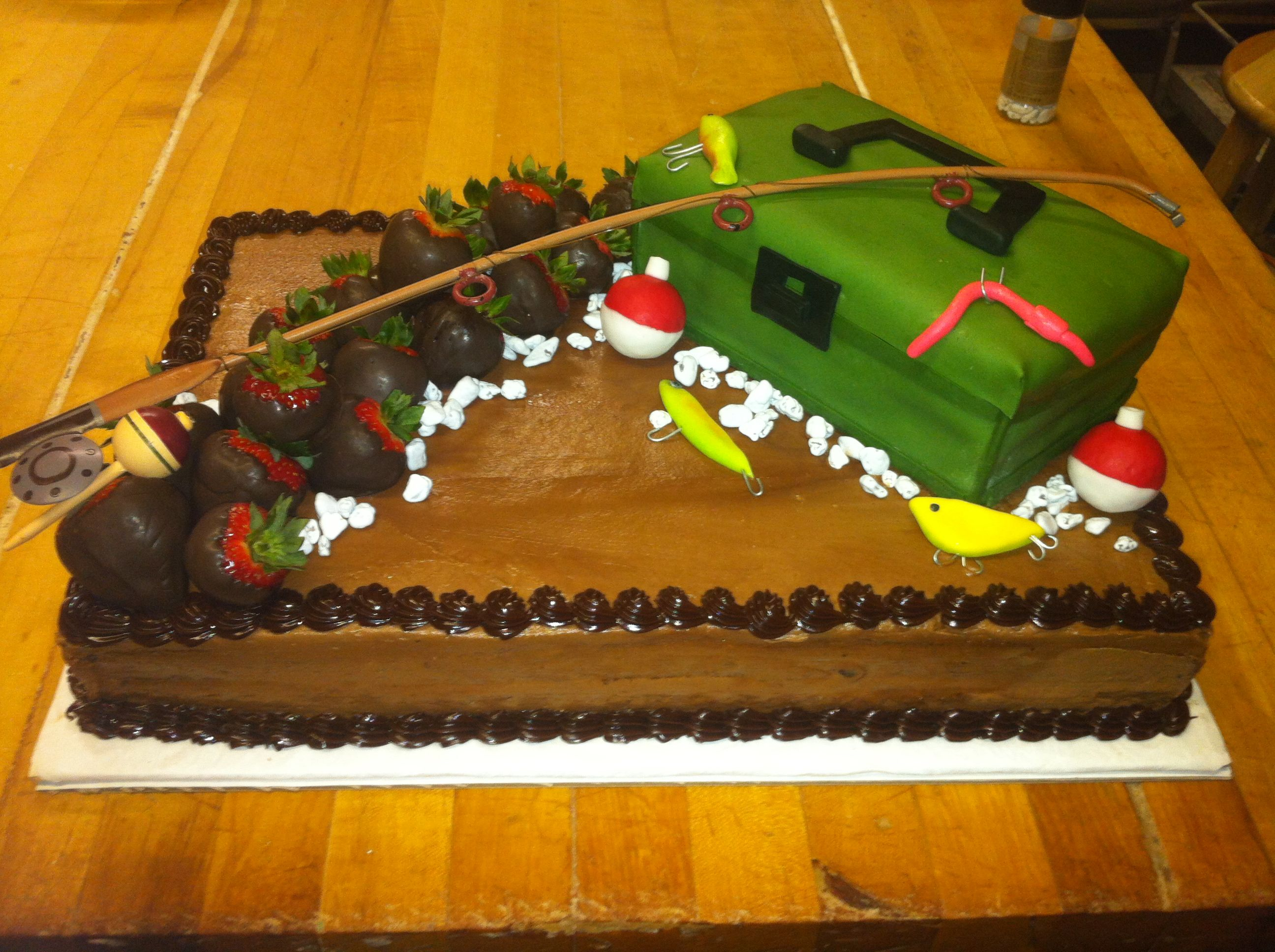 Grooms cake for the fishing man party and shower ideas for Fishing themed cakes