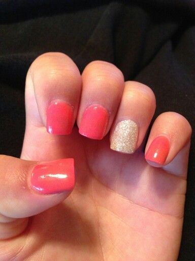 Solid color acrylic glitter nail | nail designs | Pinterest