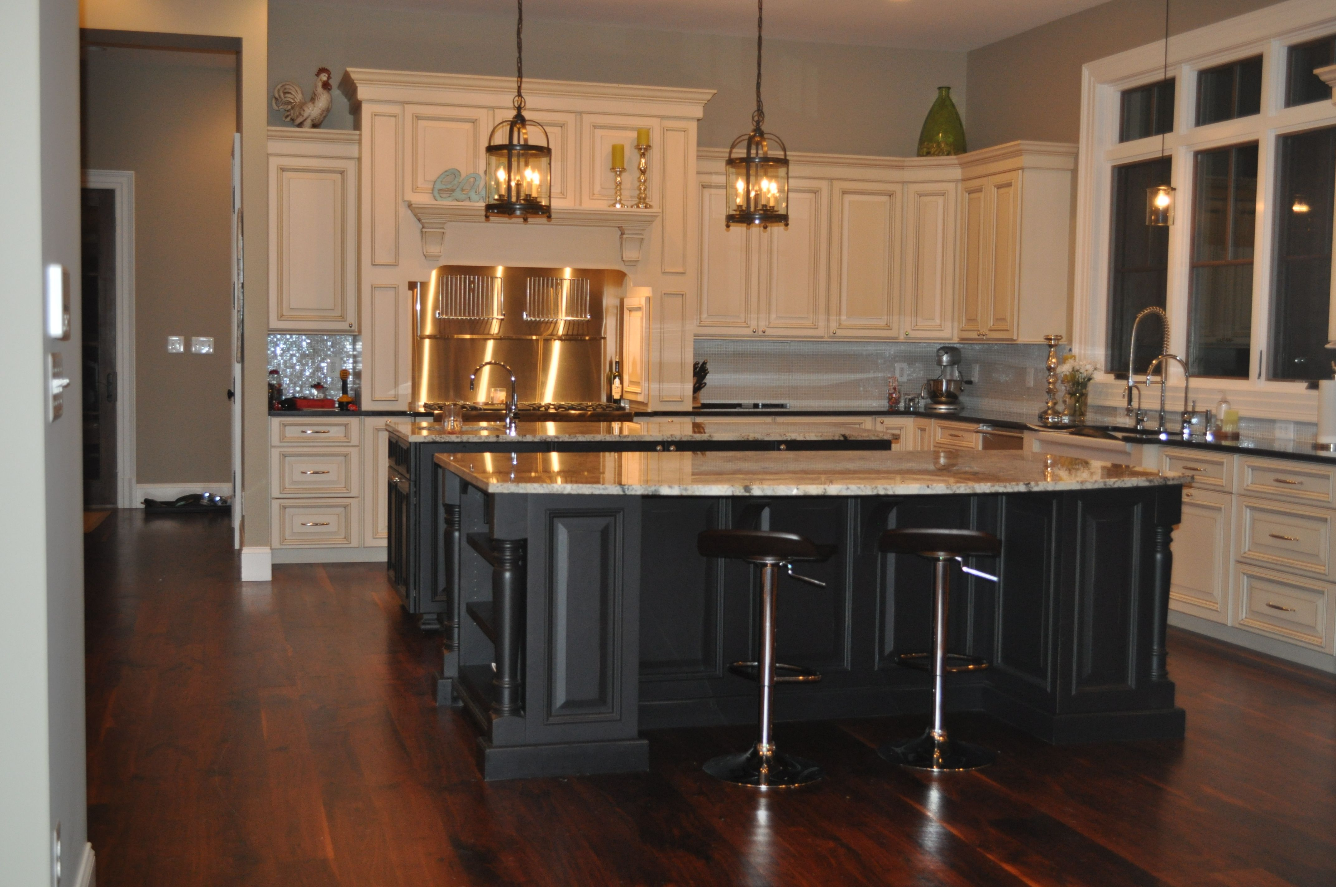 My current kitchen with double islands kitchens pinterest for Double island kitchen