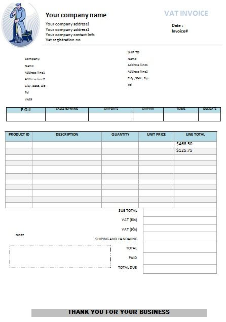 Free Invoice Template for NonTaxable Services