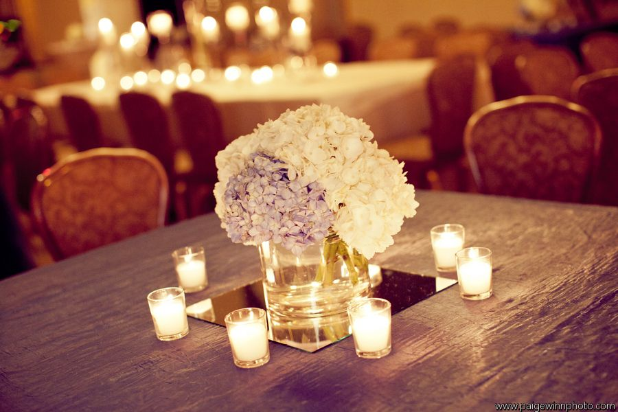 White hydrangea centerpiece wedding pinterest