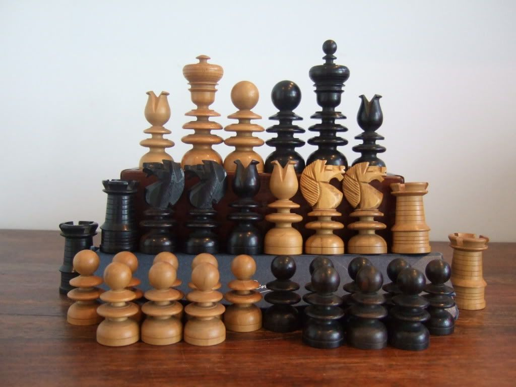 Antique turned wood chess set woodworking pinterest - Collectible chess sets ...
