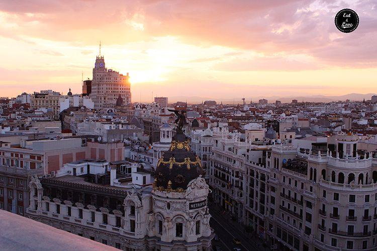 Puesta de sol desde la azotea del Círculo de Bellas Artes (Tartan Roof)