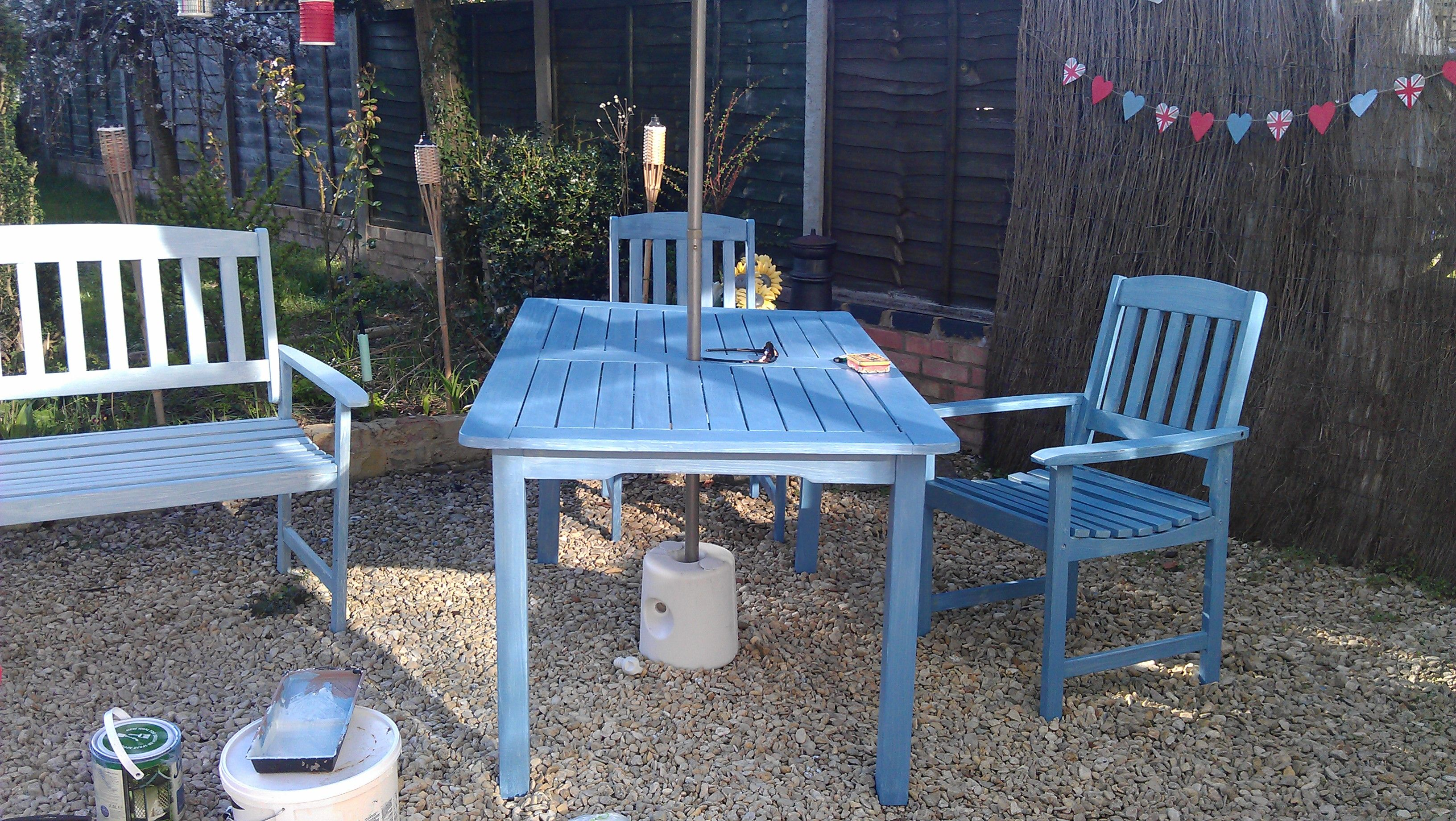 my freshly painted garden furniture Garden