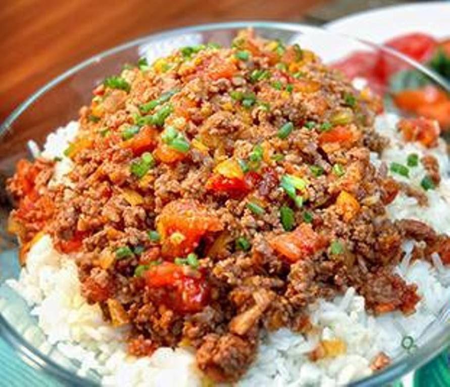 Carne molida guisada con arroz blanco comidas - Comidas con arroz blanco ...