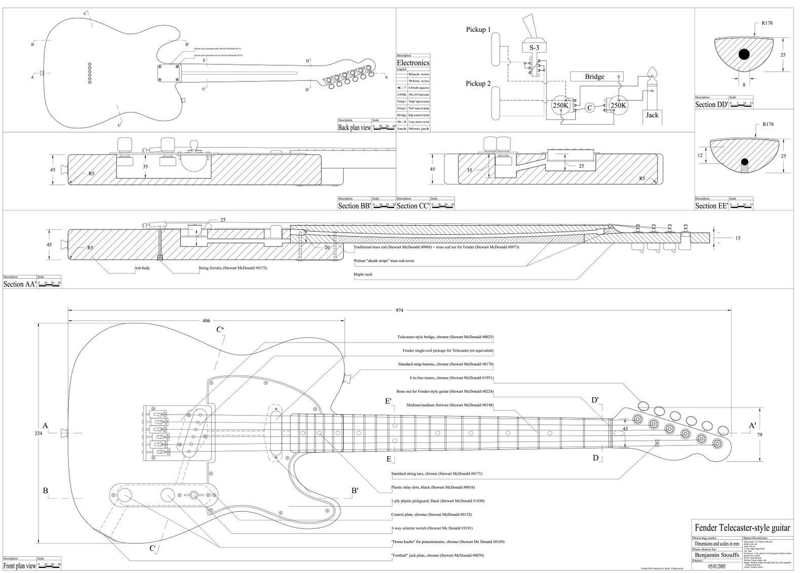 Бас-гитара своими руками чертежи